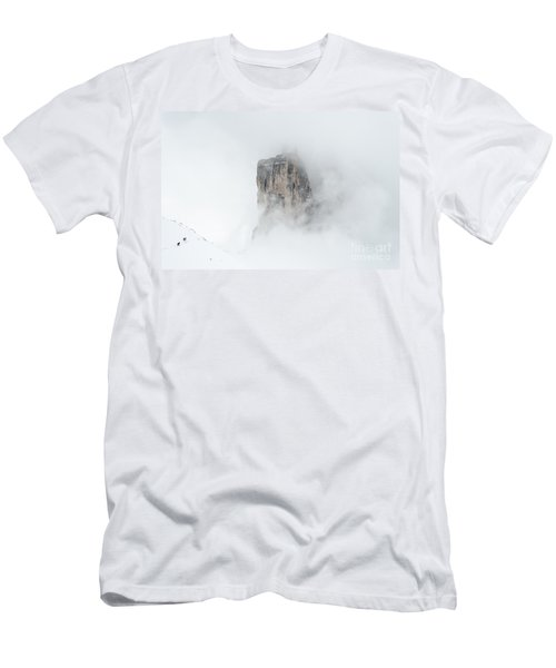Hiking The Tre Cime In Winter Men's T-Shirt (Slim Fit) by IPics Photography