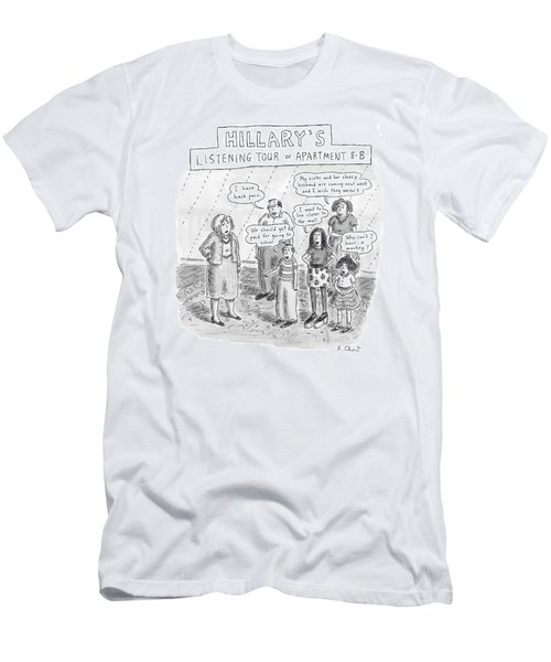 'hillary's Listening Tour Of Apartment 8-b' Men's T-Shirt (Slim Fit) by Roz Chast