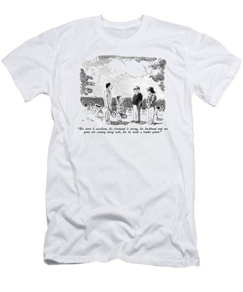 His Serve Is Excellent Men's T-Shirt (Athletic Fit)