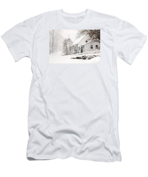 Men's T-Shirt (Slim Fit) featuring the photograph Historic Church In Oella Maryland During A Blizzard by Vizual Studio