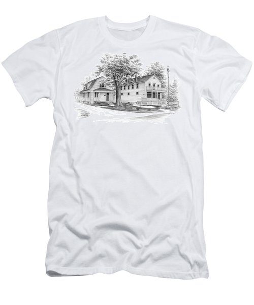 Men's T-Shirt (Slim Fit) featuring the drawing Historic Jaite Mill - Cuyahoga Valley National Park by Kelli Swan