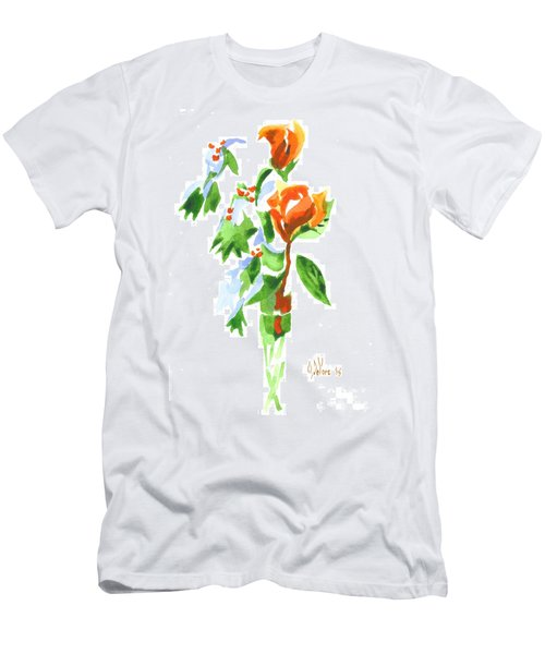 Holly With Red Roses In A Vase Men's T-Shirt (Slim Fit) by Kip DeVore
