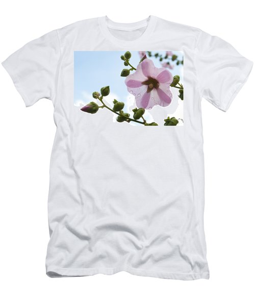 Men's T-Shirt (Slim Fit) featuring the photograph Hollyhock With Raindrops by Lana Enderle