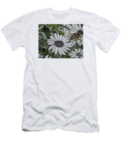 Men's T-Shirt (Slim Fit) featuring the painting Honeybee Taking The Time To Stop And Enjoy The Daisies by Kimberlee Baxter