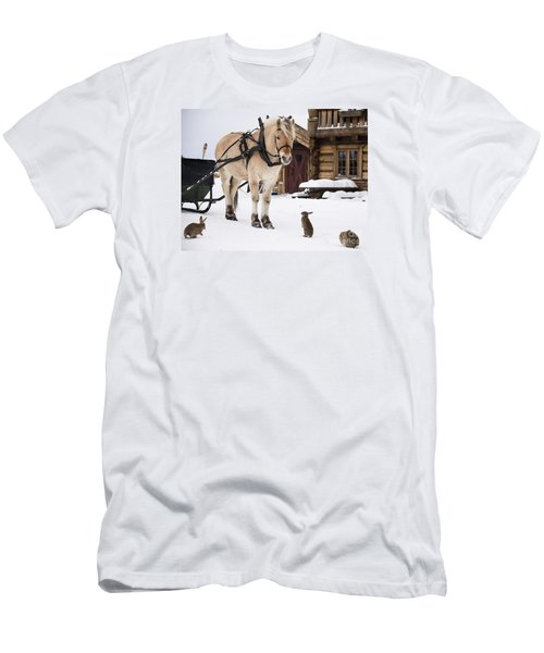 Horse And Rabbits Men's T-Shirt (Athletic Fit)