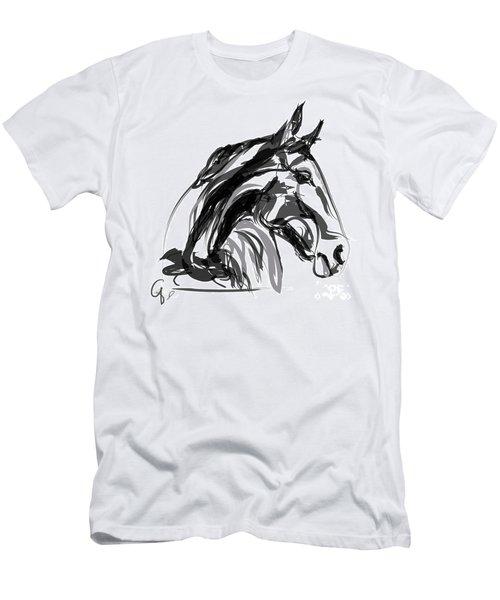 Horse- Apple -digi - Black And White Men's T-Shirt (Athletic Fit)