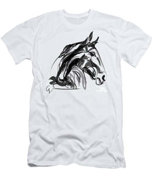Horse- Apple -digi - Black And White Men's T-Shirt (Athletic Fit)