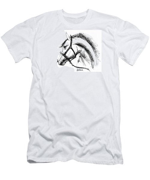 Horse Face Ink Sketch Drawing Men's T-Shirt (Athletic Fit)