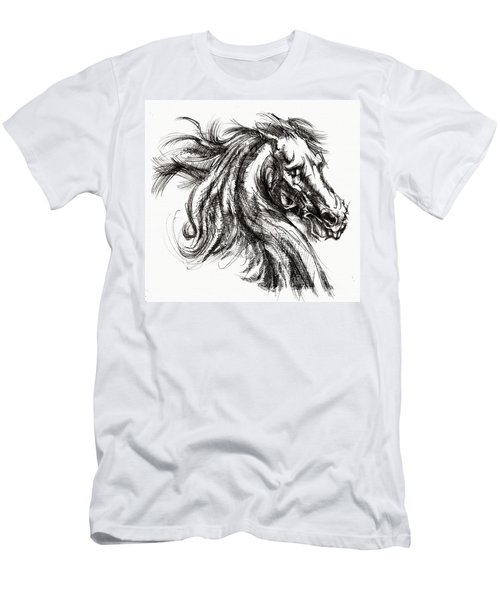Horse Face Ink Sketch Drawing - Inventing A Horse Men's T-Shirt (Athletic Fit)