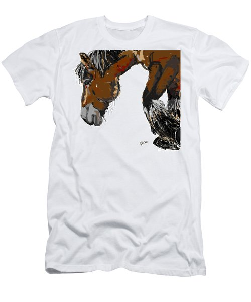 Men's T-Shirt (Slim Fit) featuring the painting horse - Guus by Go Van Kampen