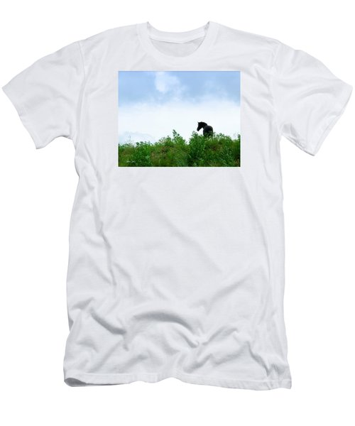 Men's T-Shirt (Slim Fit) featuring the photograph Horse On The Hill by Joan Davis