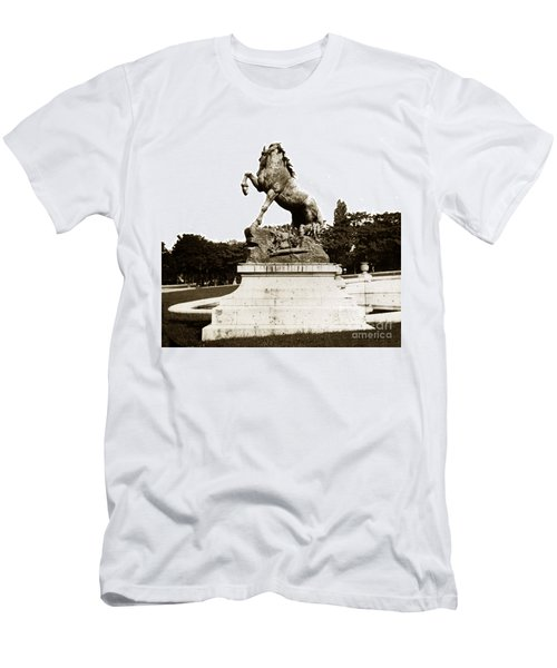 Men's T-Shirt (Slim Fit) featuring the photograph Horse Sculpture Trocadero  Paris France 1900 Historical Photos by California Views Mr Pat Hathaway Archives