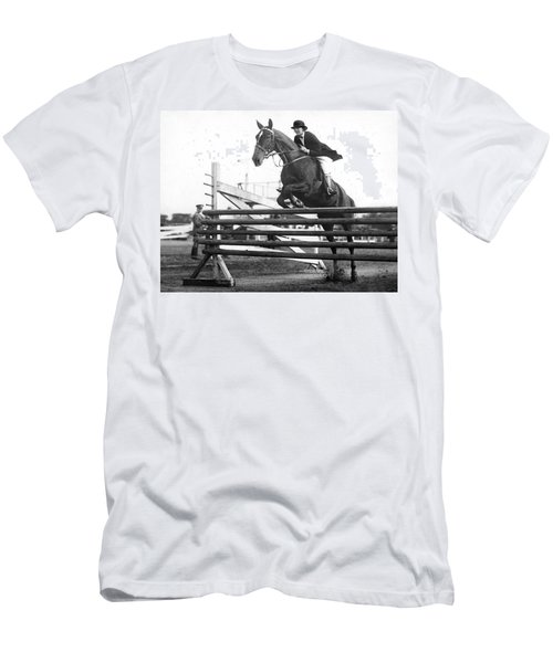 Horse Taking Jump Men's T-Shirt (Athletic Fit)
