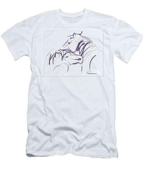 Men's T-Shirt (Slim Fit) featuring the painting Horse - Together 10 by Go Van Kampen