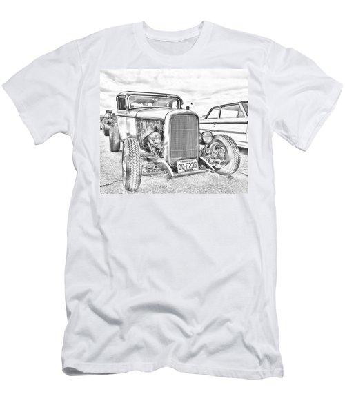 Hot Rod Faux Sketch Men's T-Shirt (Slim Fit)