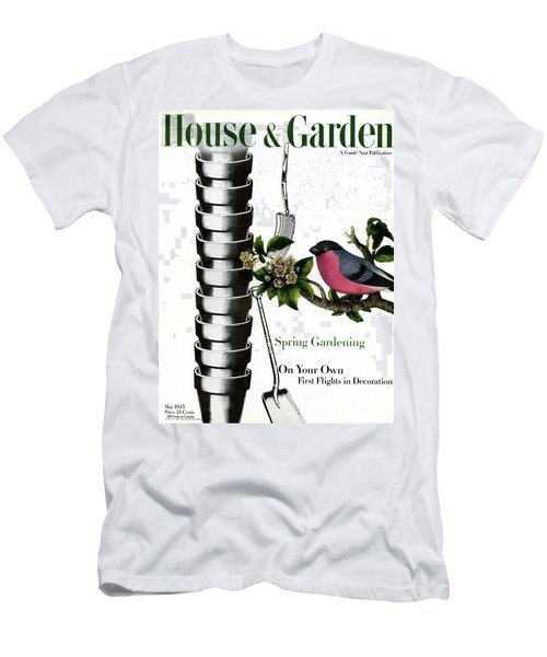 House And Garden Cover Featuring Pots And A Bird Men's T-Shirt (Athletic Fit)