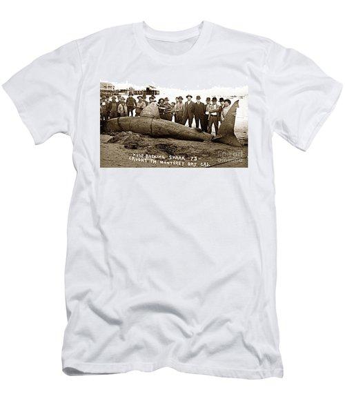 Huge Basking Shark Near Fishermans Wharf Monterey California Circa 1912 Men's T-Shirt (Athletic Fit)