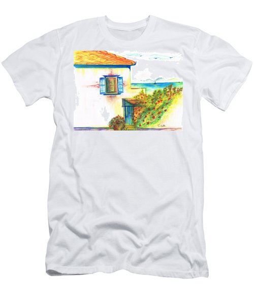 Men's T-Shirt (Slim Fit) featuring the painting Greek Island Hydra- Home by Teresa White