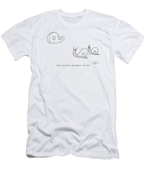 I Don't Care If She Is A Tape Dispenser.  I Love Men's T-Shirt (Athletic Fit)