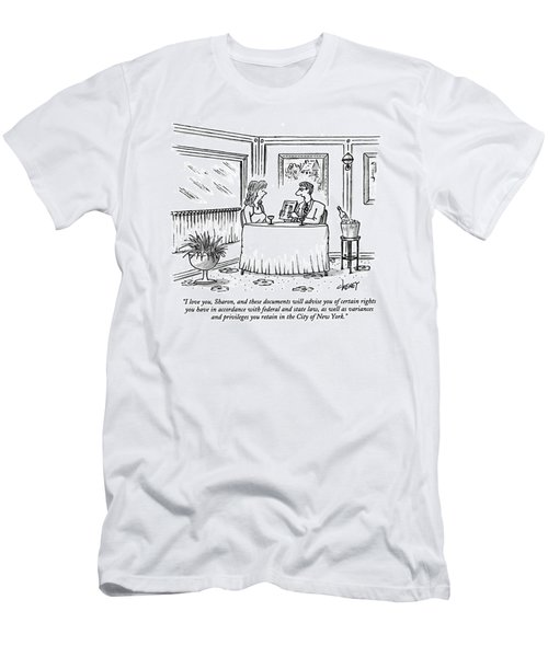 I Love You, Sharon, And These Documents Men's T-Shirt (Athletic Fit)