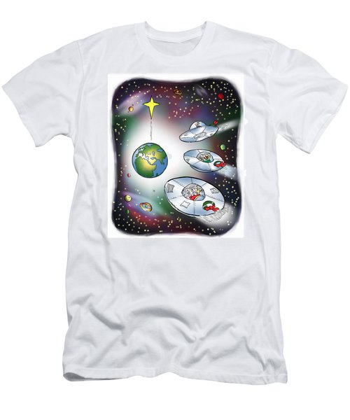 We Three Spacemen Men's T-Shirt (Athletic Fit)