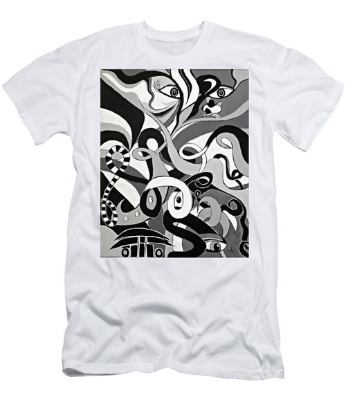 Black And White Acrylic Painting Original Abstract Artwork Eye Art  Men's T-Shirt (Athletic Fit)