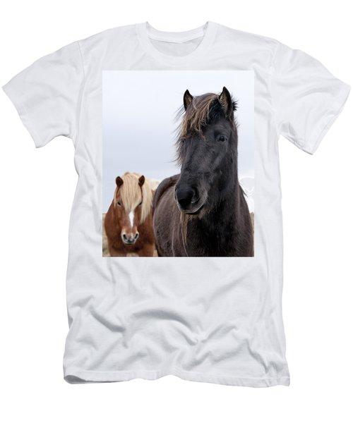 Iceland Horses Men's T-Shirt (Slim Fit) by Mike Santis