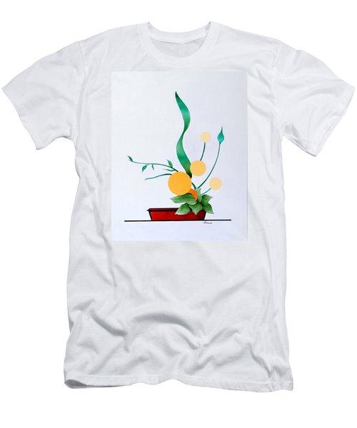 Ikebana #1 Red Pot Men's T-Shirt (Slim Fit) by Thomas Gronowski