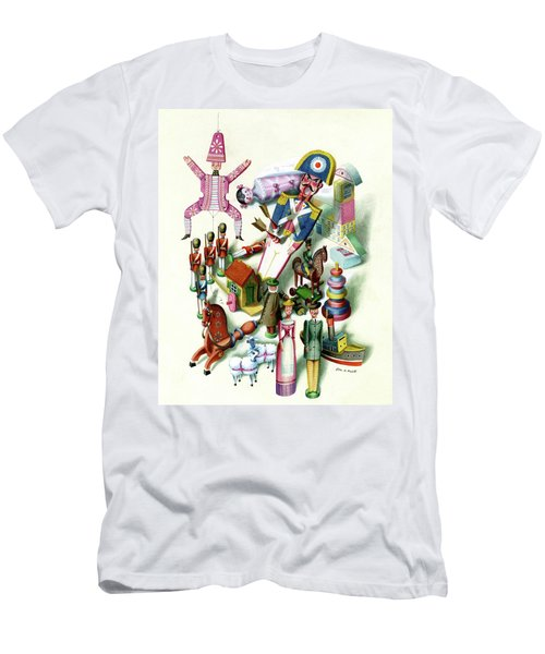 Illustration Of A Group Of Children's Toys Men's T-Shirt (Athletic Fit)