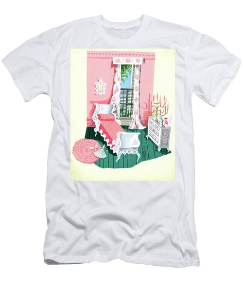 Illustration Of A Victorian Style Pink And Green Men's T-Shirt (Athletic Fit)