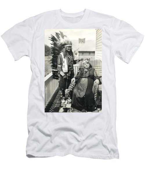 Men's T-Shirt (Slim Fit) featuring the photograph Indian Chief And Woman by Charles Beeler