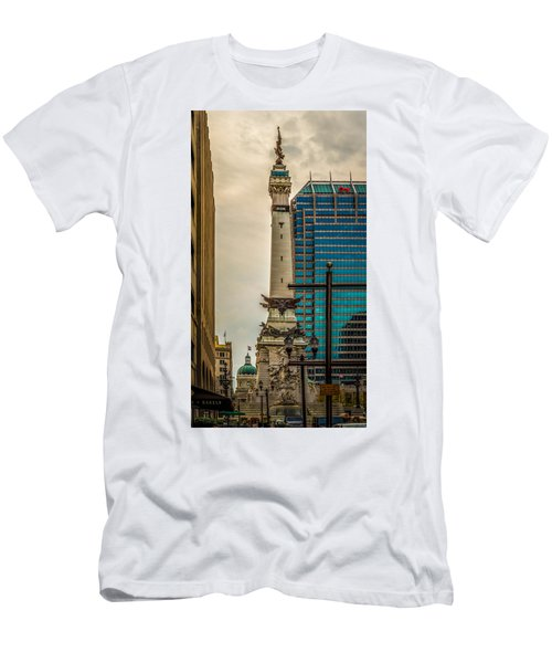 Indiana - Monument Circle With State Capital Building Men's T-Shirt (Athletic Fit)