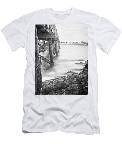 Men's T-Shirt (Slim Fit) featuring the photograph Infrared View Of Stormy Waves At Stramsky Wharf by Jeff Folger