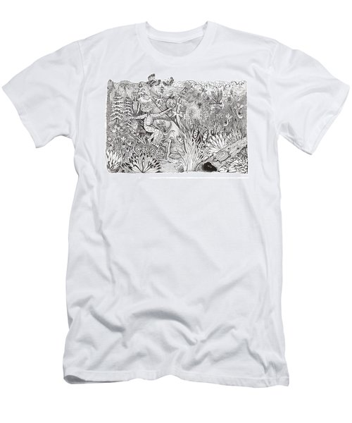 Men's T-Shirt (Slim Fit) featuring the photograph Inky Orchid Pond by Adria Trail