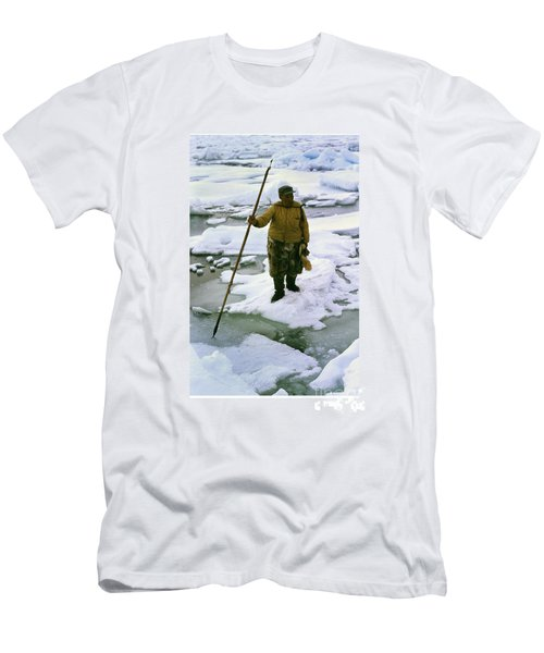 Men's T-Shirt (Slim Fit) featuring the photograph Inuit Seal Hunter Barrow Alaska July 1969 by California Views Mr Pat Hathaway Archives
