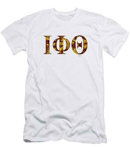 Men's T-Shirt (Slim Fit) featuring the digital art Iota Phi Theta - White by Stephen Younts