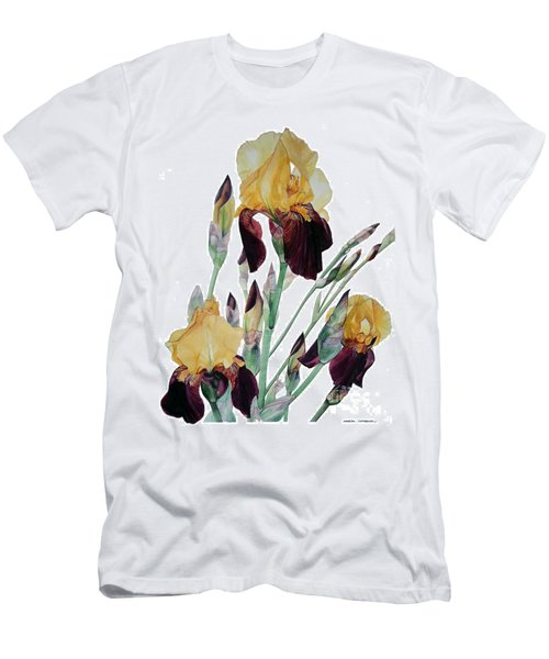 Watercolor Of Tall Bearded Iris In Yellow And Maroon I Call Iris Beethoven Men's T-Shirt (Athletic Fit)