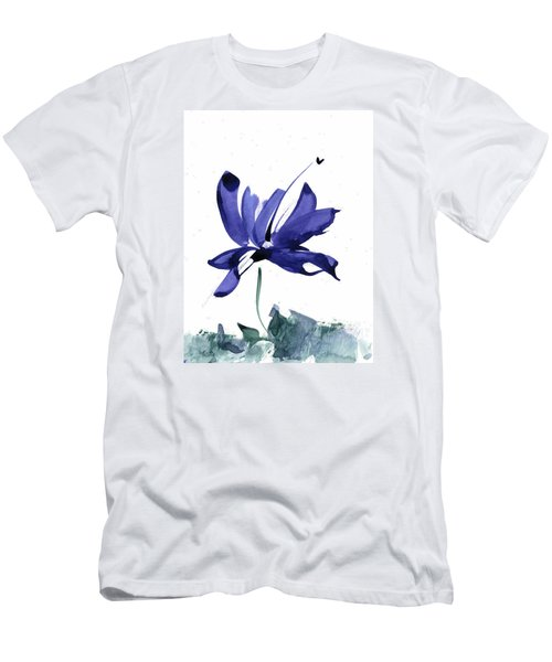 Iris In The Greenery Watercolor Men's T-Shirt (Slim Fit) by Frank Bright