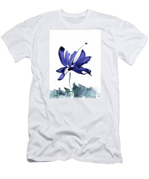 Iris In The Greenery Watercolor Men's T-Shirt (Athletic Fit)