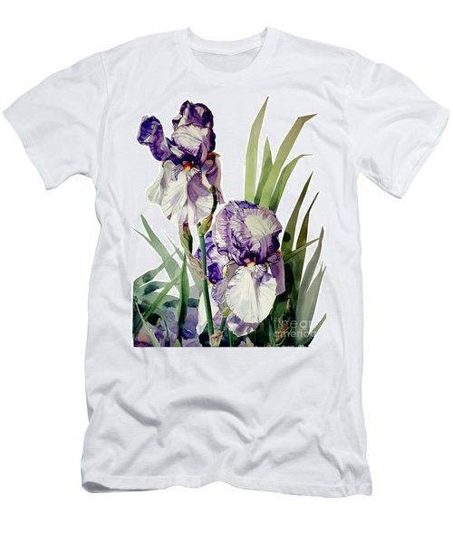 Watercolor Of A Tall Bearded Iris In Violet And White I Call Iris Selena Marie Men's T-Shirt (Athletic Fit)
