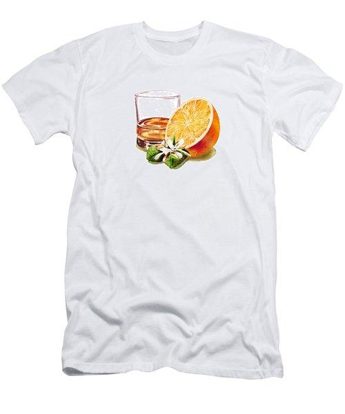 Men's T-Shirt (Slim Fit) featuring the painting Irish Whiskey And Orange by Irina Sztukowski