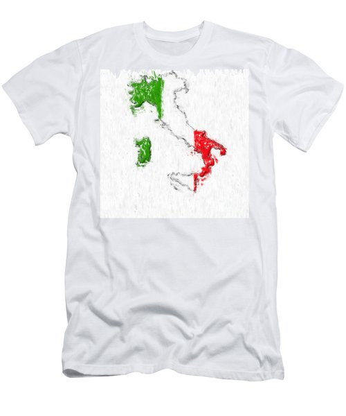 Italy Painted Flag Map Men's T-Shirt (Athletic Fit)