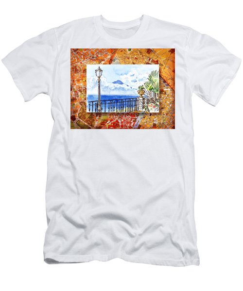 Italy Sketches Sorrento View On Volcano Vesuvius  Men's T-Shirt (Athletic Fit)