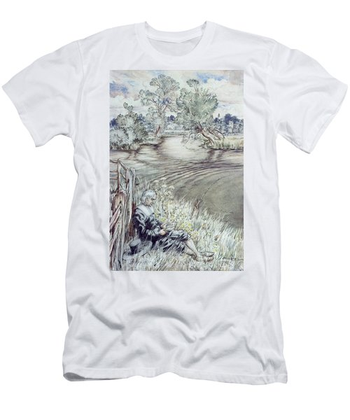 Izaak Walton Reclining Against A Fence Men's T-Shirt (Athletic Fit)