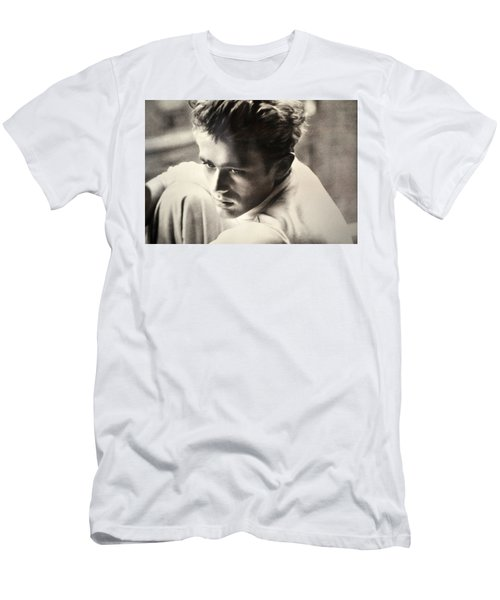 James Dean Black And White Men's T-Shirt (Slim Fit) by Jay Milo
