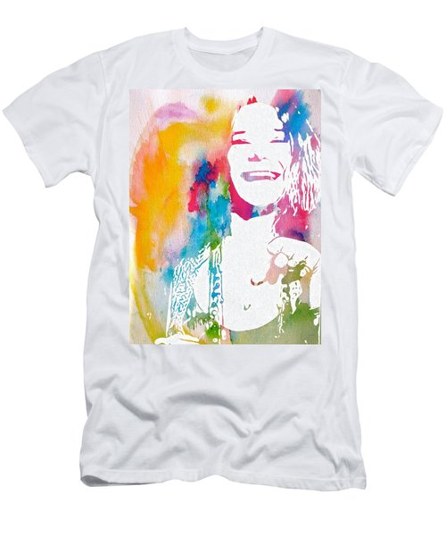 Janis Joplin Watercolor Men's T-Shirt (Athletic Fit)