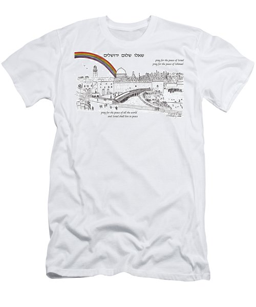 Jerusalem With Rainbow Men's T-Shirt (Athletic Fit)