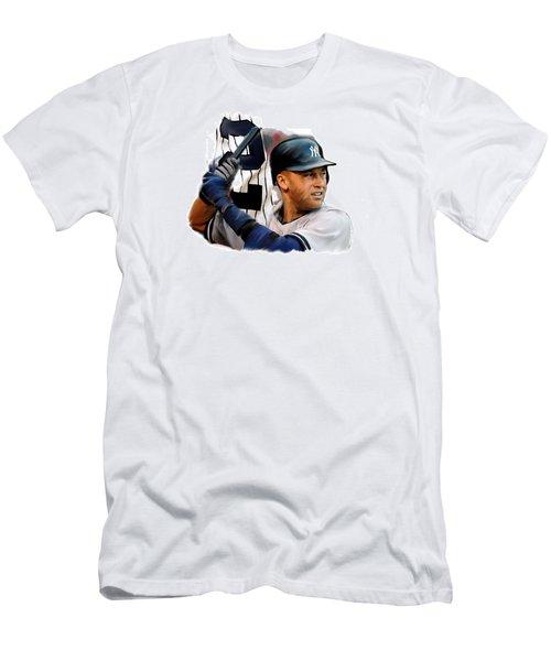 Jeter II  Derek Jeter Men's T-Shirt (Slim Fit) by Iconic Images Art Gallery David Pucciarelli