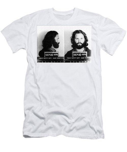 73f6eb4e03d5e Jim Morrison Mug Shot In Black And White Men s T-Shirt (Athletic Fit)