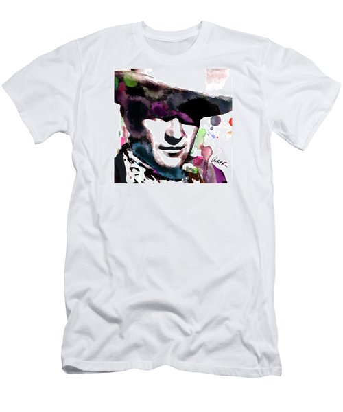 John Wayne Water Color Pop Art By Robert R Men's T-Shirt (Athletic Fit)
